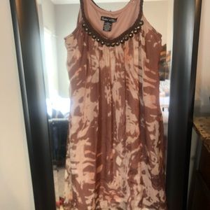 Beige patterned Shift dress with braided straps